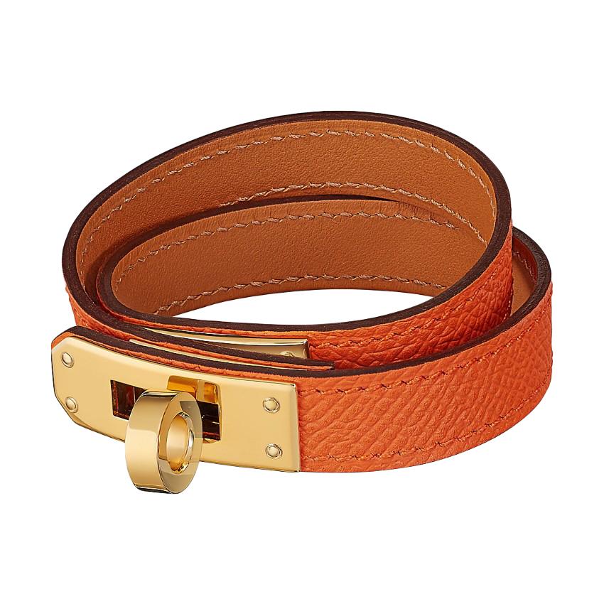 Hermes Orange gold plated hardware Kelly Double Tour Bracelet