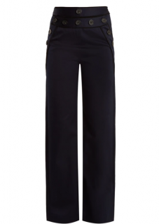 Self Portrait High-rise wide-leg cotton-blend twill trousers