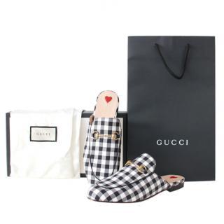 Gucci Plaid Black & White Princetown Slippers