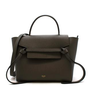 Celine Grey Grained Leather Mini Belt Bag