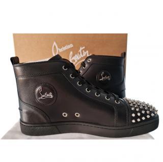 Christian Louboutin Black Lou Spikes Calfskin Sneakers
