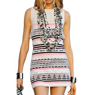 Chanel Striped Multicoloured Embroidered Runway Mini Dress