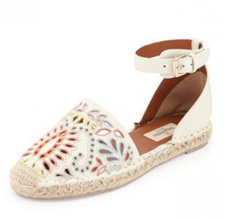 New Floral-Embroidered Leather Espadrille