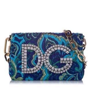 Dolce & Gabbana DG Girls Blue Brocade Crystal Crossbody Bag