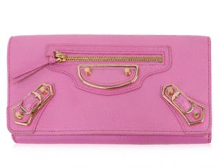 Balenciaga Pink Metallic Edge Classic Wallet