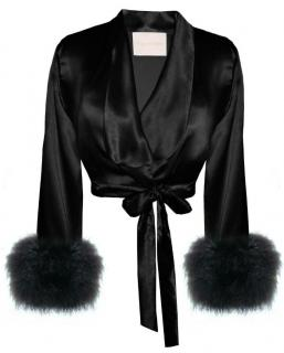 Maguy de Chadirac Marabou Feather Silk Crop Bed Jacket