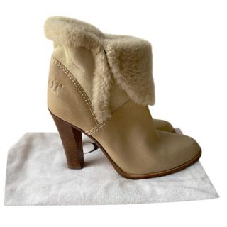 Dior Beige leather/Shearling Foldover Ankle Boots
