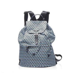 Prada Blue & Brown Abstract Print Nylon Backpack