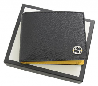 Gucci Black & Yellow Grained Leather Bi-Fold Wallet