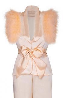 Maguy de Chadirac Peach Marabou Trimmed Pyjama Top