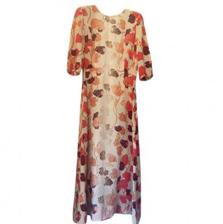 Prada Floral Print Red Gradient Classic Dress