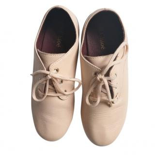 Chloe Girls Nude Lace-Up Shoes