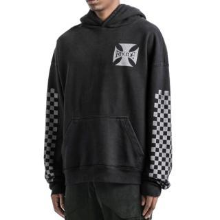 Rhude Black Distressed Checkers Hoodie