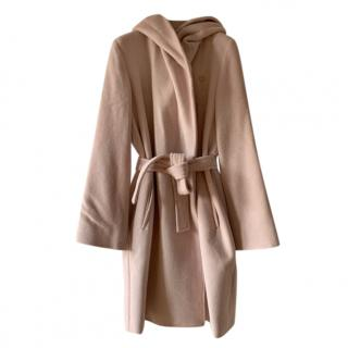 Max Mara Blush Angora, Wool & Silk Double Breasted Hooded Coat