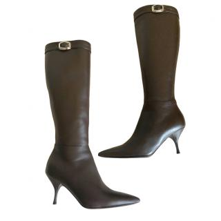 Prada Brown Leather Knee Boots