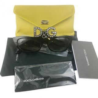 Dolce & Gabbana Black DG Crystal Embellished Sunglasses