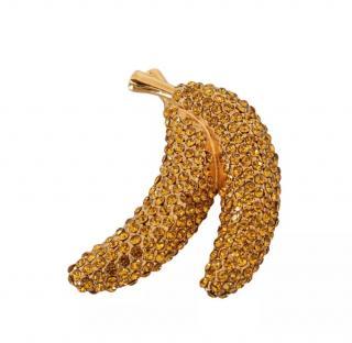 Dolce & Gabbana Gold Tone Crystal Banana Pin Brooch