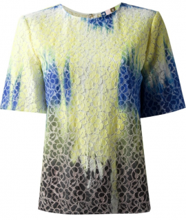 MSGM Tie-Dye Lace Detailed T-shirt