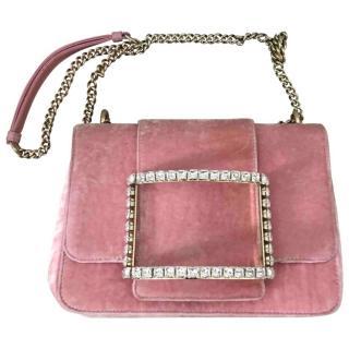 Roger Vivier Velvet Tr�s Vivier Strass Buckle Small Pink Bag