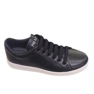 Prada Black Leather Low-Top Sneakers