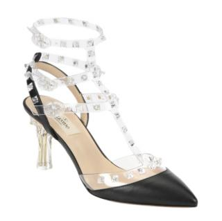 Valentino Naked Rockstud Leather Slingback Pumps
