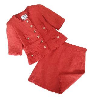 Chanel Metiers D'Art Runway Coral Tweed Skirt Suit