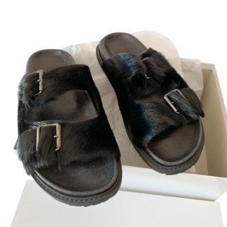 Weekend Max Mara Black Double Buckle Fur Slides