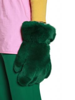 Marni Green Rabbit Fur Oversize Gloves