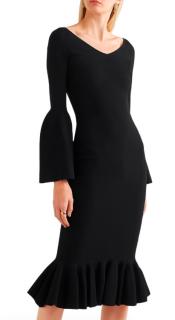 Stella McCartney Black Ruffle Hem Cady Dress