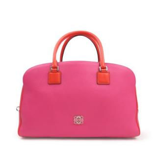 Loewe Pink Grained Leather Boston Bag