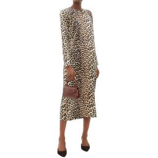 Ganni Leopard-print silk-blend satin dress