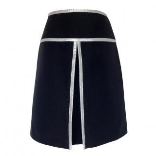 Prada Black & Silver Runway Wool & Silk Skirt