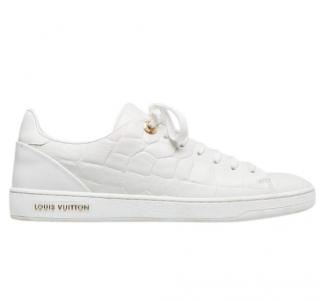 Louis Vuitton White Croc Embossed Frontrow Sneakers