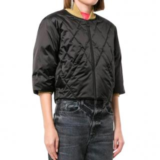 Chanel Black & Gold Nylon Quilted Cropped Jacket