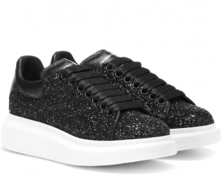 Alexander McQueen Black Leather-trimmed glitter sneakers