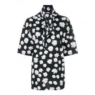 Balenciaga Floral Print Scarf Tie T-Shirt
