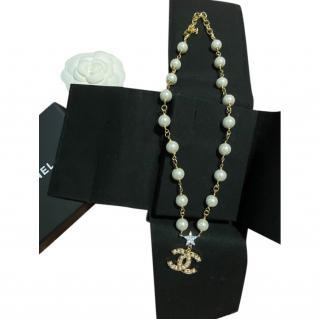 Chanel Single Strand Faux Pearl CC Pendant Necklace