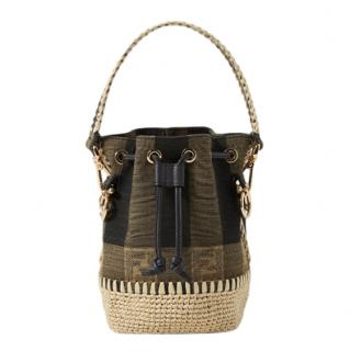 Fendi Mon Tr�sor mini raffia-trimmed jacquard bucket bag