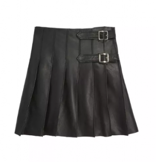 Oscar De La Renta Kid's Black Pleated Leather Kilt