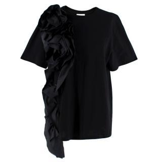 Alexander McQueen Black Ruffle Detail T-Shirt
