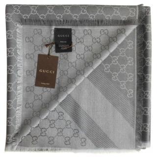 Gucci Grey Wool & Silk Monogram Scarf