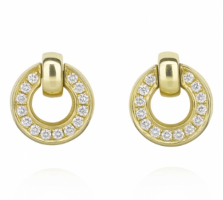 Boodles Roulette Yellow Gold Diamond Flip Earrings