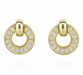 Boodles Roulette Yellow Gold Diamond Flip Earrings