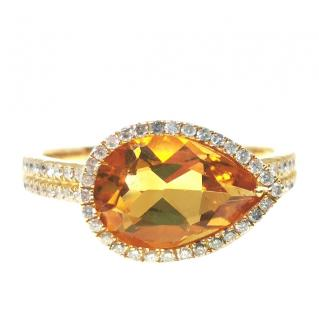 Bespoke 18ct Yellow Gold Citrine & Diamond Ring