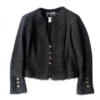 Chanel Black Lesage Tweed Classic Black Jacket