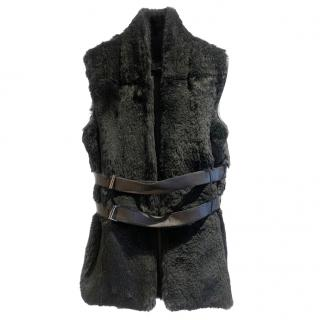 Amanda Wakeley Black Rabbit Fur Gilet with Leather Belt