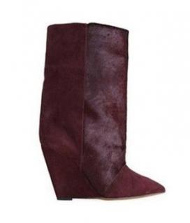 Isabel Marant Wedge Claret Suede Lazio Boots