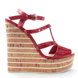 Gucci Red Patent Leather Striped Wedge Sandals