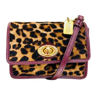 Coach Leopard Print Pony Hair & Leather Mini Shoulder Bag