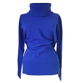 Max Mara Blue Wool & Cashmere Rollneck Jumper